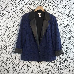 Chicos blue blazer with lace overlay size 3